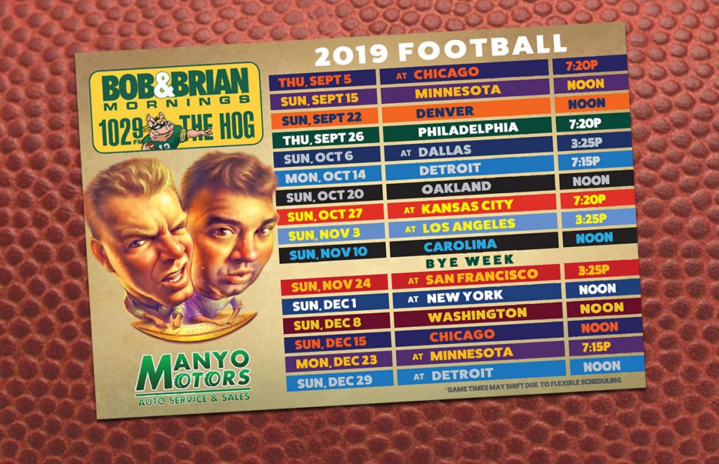FREE 2019 Football Schedule Magnet - 102.9 THE HOG